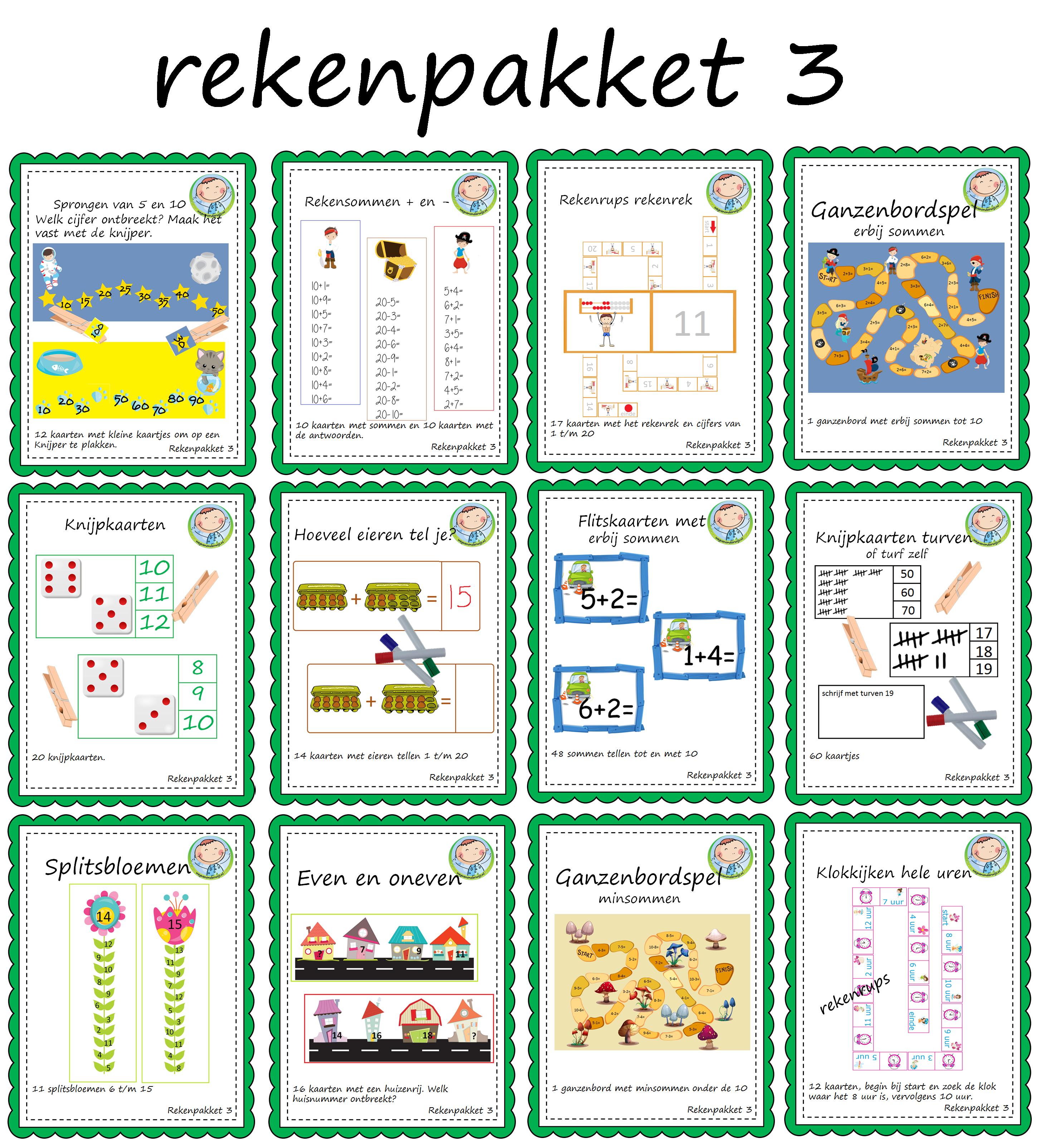 Hedendaags Rekenenpakketten voor groep 3 - Weg van onderwijs DK-29